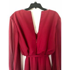 Burgundy Evening Gown, long sleeve